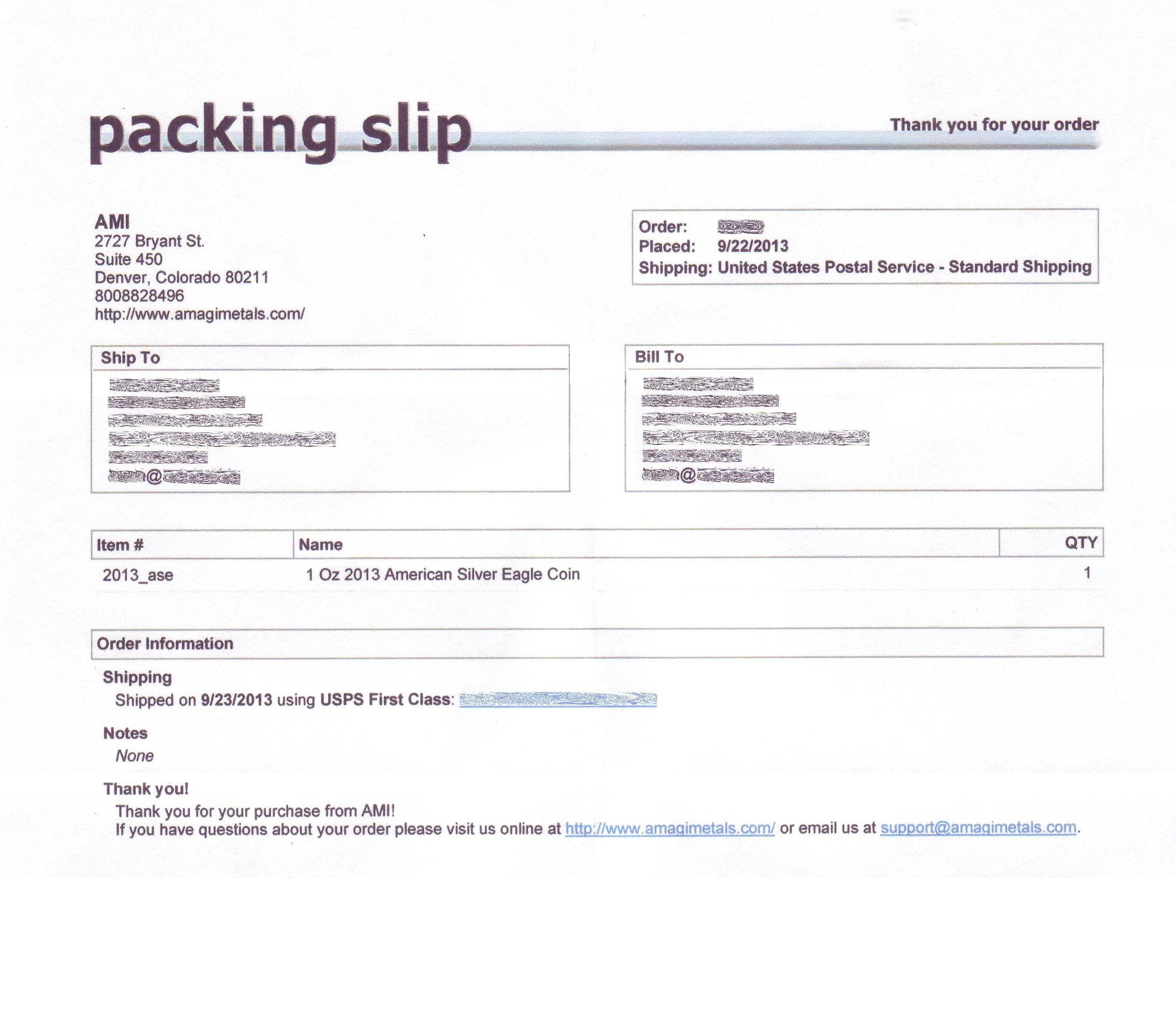 paking slip