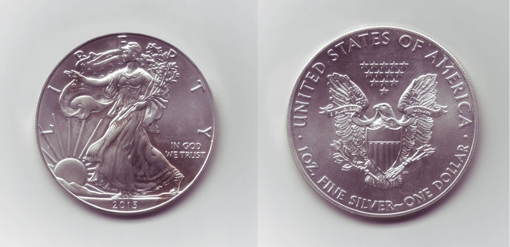 A one-ounce American Silver Eagle as shipped by Agora Commodities.