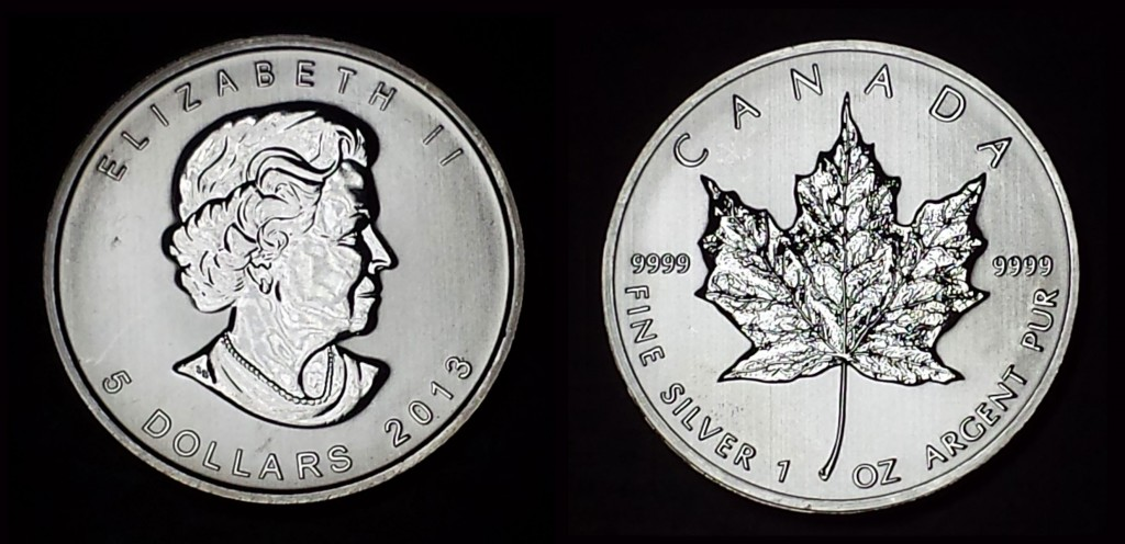 A one-ounce Canadian Silver Maple Leaf Coin as shipped by Agora Commodities.