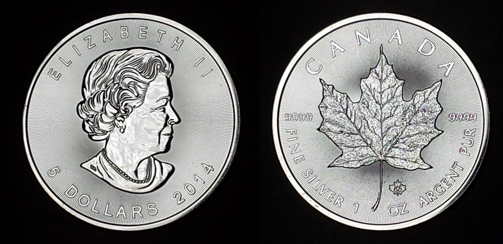 A one-ounce Canadian Silver Maple Leaf as shipped by Amagi Metals.